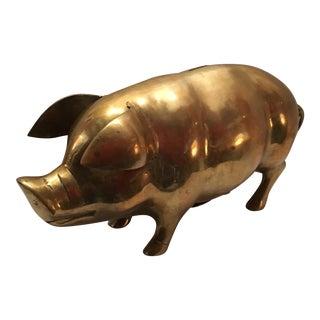 Vintage Brass Pig Bank