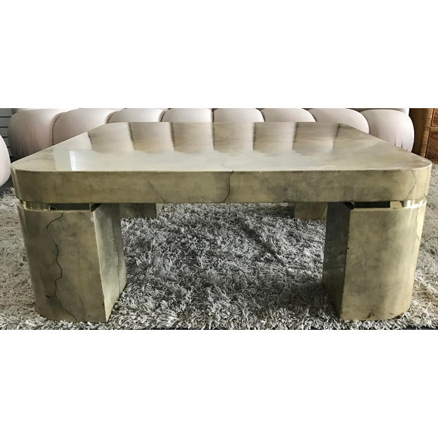 Karl Springer Style Lacquered Goatskin Coffee Table - Image 4 of 8