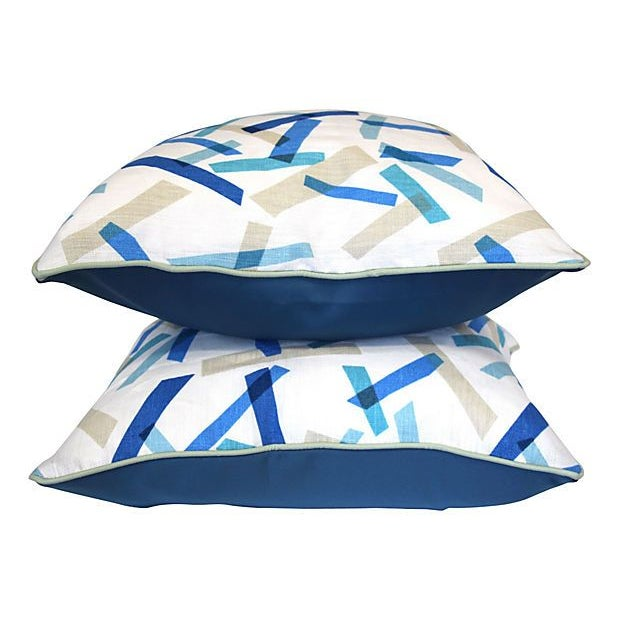 Blue and White Linen Pillows II - Pair - Image 3 of 6