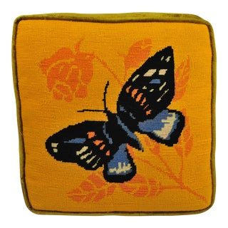 1970's Butterfly Needlepoint Throw Pillow