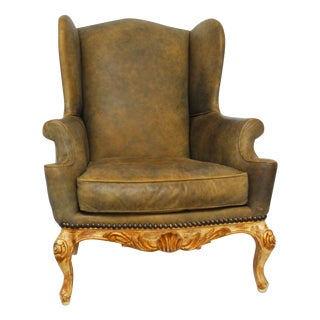 Vintage Cigar Leather Wingback Chair
