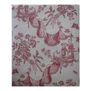 Schumacher Wallpaper 18th Century Traditional 'La Draperie' in Red - 5 Single Rolls