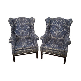 Circa 1940s Mahogany Chippendale Style Wingback Chairs - A Pair