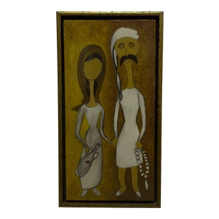"Original Framed ""Man & Wife"" Painting on Canvas"