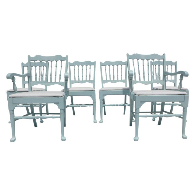 Cottage Mahogany Sea Breeze Chairs - Set of 6 - Image 1 of 8