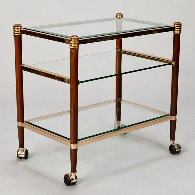 Mid-Century Italian Brass Glass and Polished Wood Trolley Table or Bar Cart - Image 6 of 8