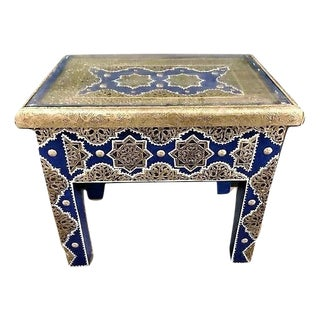 Pair of Moroccan Silver Metal Rectangular Inlaid Side Table in Blue