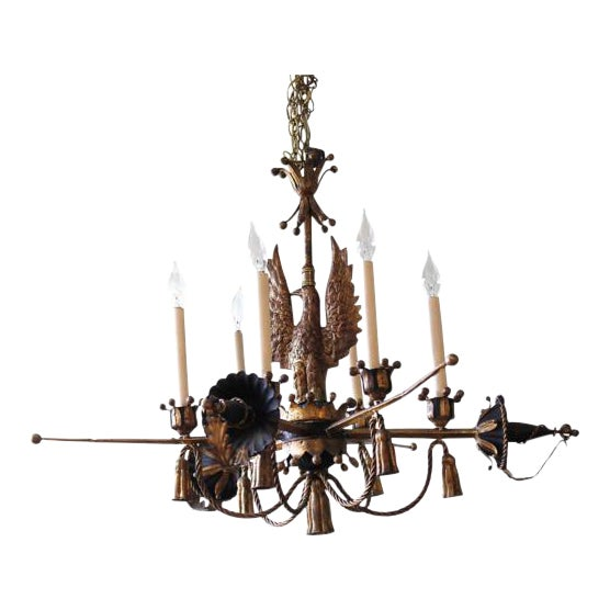 Tôle Painted and Gilt Eagle and Swords Chandelier - Image 1 of 9