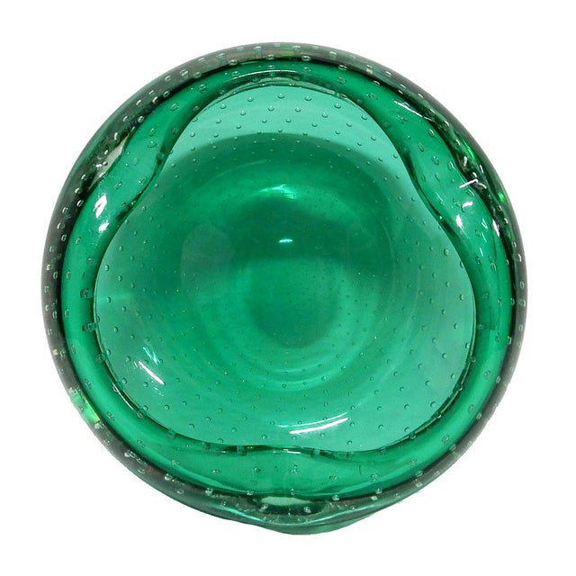 Image of Hand Blown Dark Green Murano Bowl with Inclusions