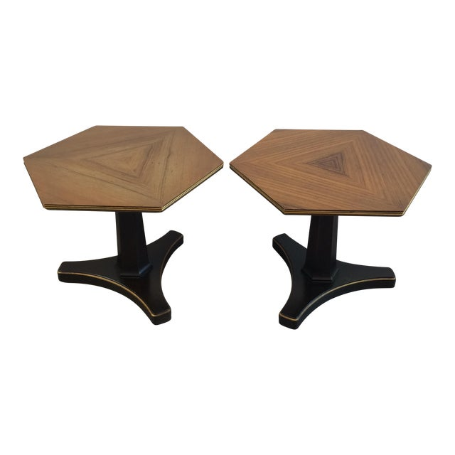 Henredon Hexagonal Walut Side Tables - A Pair - Image 1 of 11
