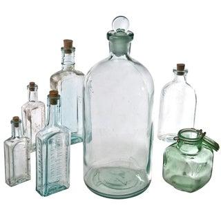 Light Aqua Glass Bottle Collection - Set of 7