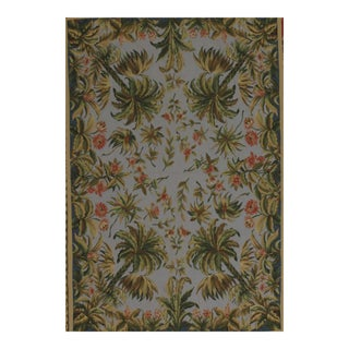 French Aubusson Design Hand Woven Green Floral Wool Rug - 4' X 6'