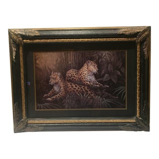 Vintage Signed Leopards in the Jungle Lithograph