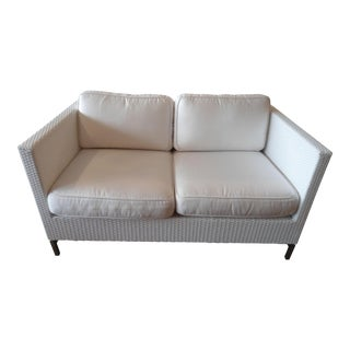 Frontgate White Wicker Loveseat
