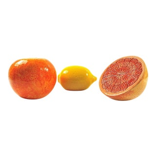 Grapefruit, Orange & Lemon Ceramic Fruit - Set of 3