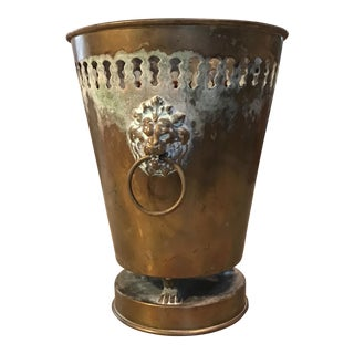 Vintage Brass Planter With Lion Head Knockers