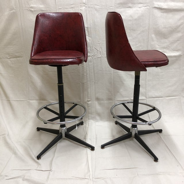 Mid-Century Cosco Swivel Bar Stools - A Pair - Image 10 of 11