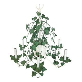 Italian Tole Ivy Basket Six-Arm Chandelier