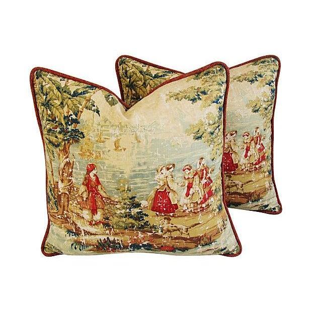 Vintage Custom Renaissance Toile Pillows - A Pair - Image 1 of 7