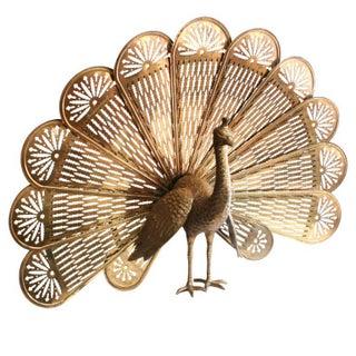 Brass Peacock Fireplace Fan