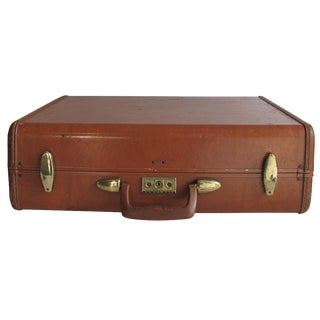 Samsonite Camel Leather Suitcase