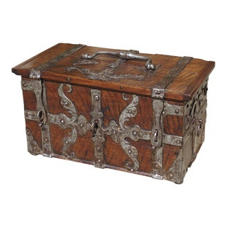 A 17th Century Walnut Wood and Iron Table Trunk France