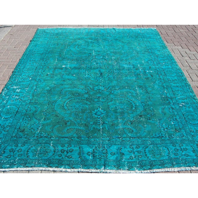 Vintage Turkish Over-Dyed Teal Rug - 7′8″ × 10′8″