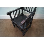 Image of 19th Century Solid Walnut Spool Turned Arm Chair