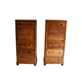 American Fruitwood-Walnut Secretaries - A Pair