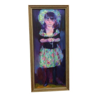 Sweet Bright Girl Framed Oil Painting