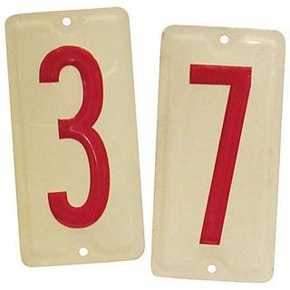 Vintage Embossed Number Signs, 3 & 7