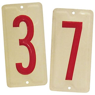 Vintage Embossed Number Signs, 3 & 7