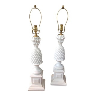 Vintage White Pineapple Lamps - A Pair
