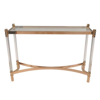 Charles Hollis Jones Style Lucite & Rose Gold Console Table