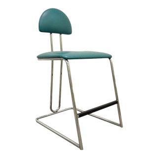Vintage Loewenstein Mid Century Modern Memphis Style Chrome Bar Stool Chair