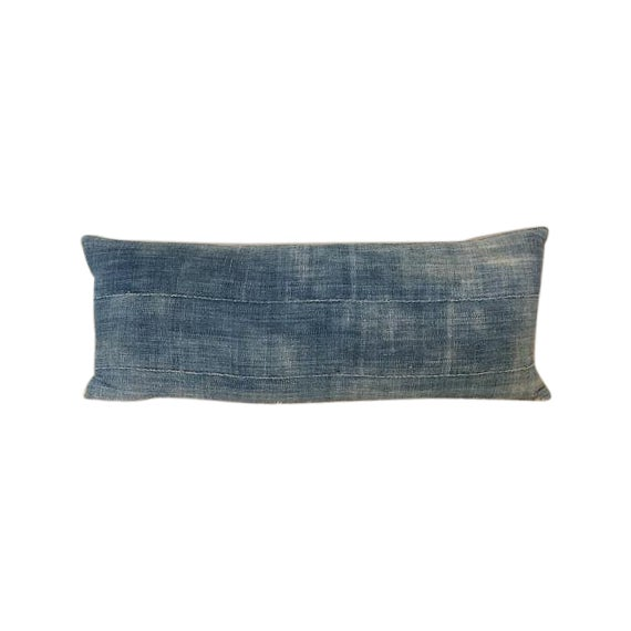 Image of Vintage Indigo Mud Cloth Textile Pillow