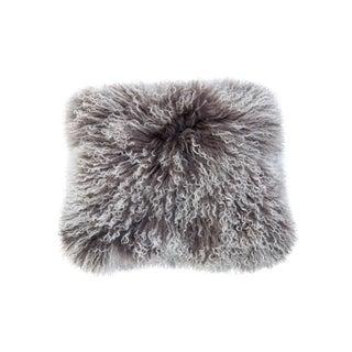 Gray Mongolian Sheep Fur Pillow