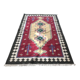 Vintage Indian Kilim Hand-Knotted Wool Rug - 5′1″ × 8′2″