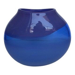Blue & Purple Oval Art Glass Vase