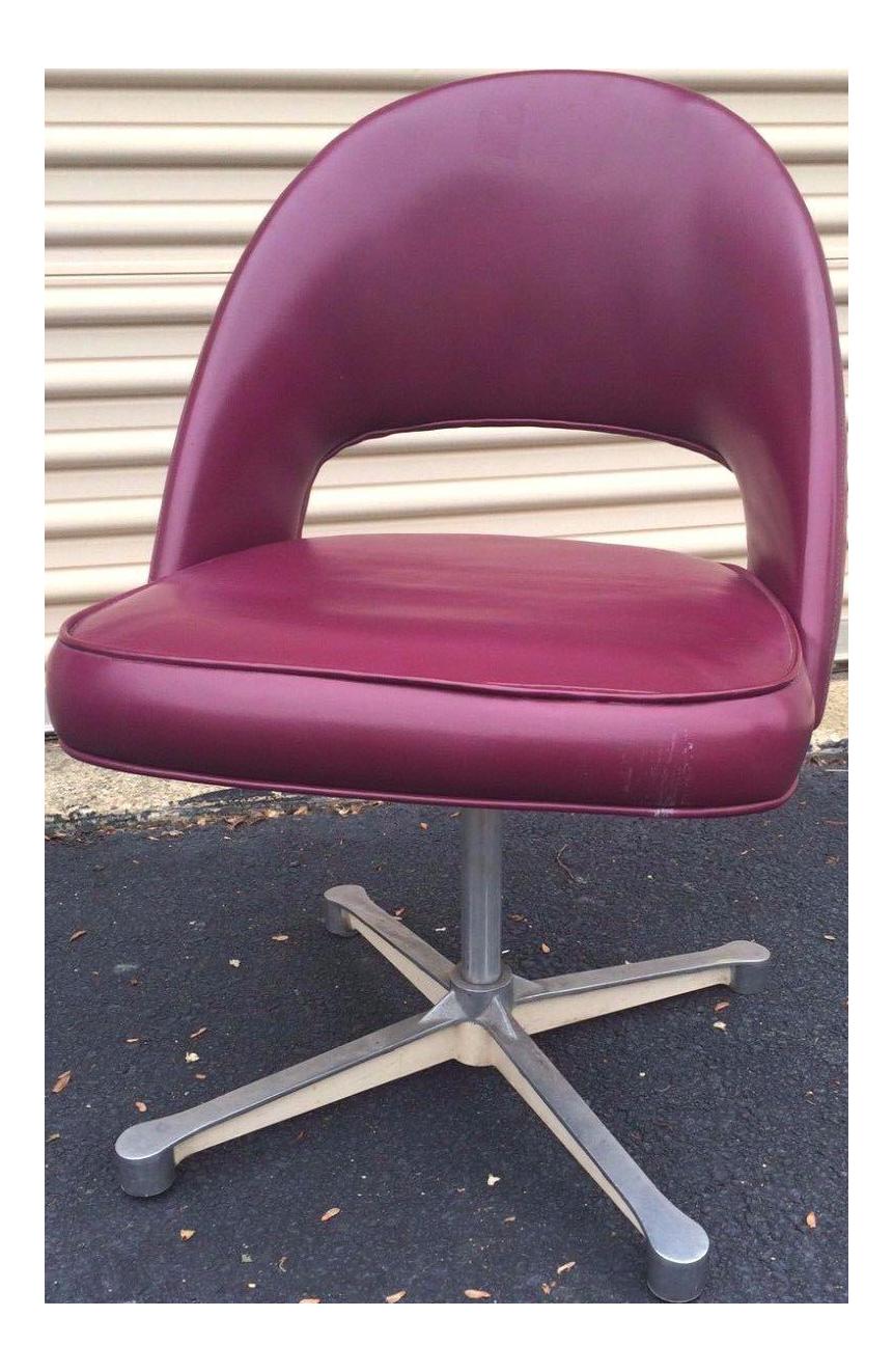 MidCentury Burgundy Swivel Chair Eero Saarinen Style Chairish
