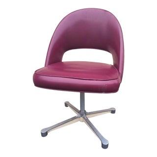 Mid-Century Burgundy Swivel Chair Eero Saarinen Style