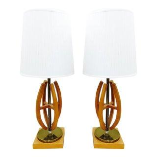 Mid Century Modern Danish Style Wood & Brass Lamps - Pair