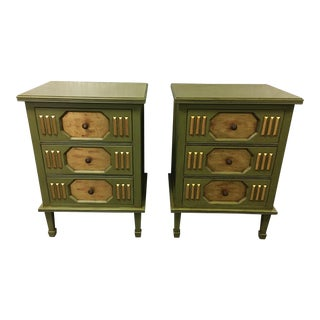 Vintage Three Drawer Side Tables- A Pair