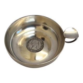 Silver Wine Taster With Antique Silver Coin