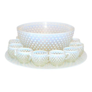 Duncan & Miller Hobnail Punch Bowl & Cups Set