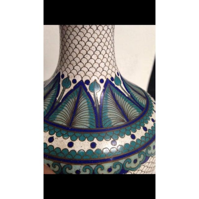 Vintage Fish Scale Cloisonné Lamp - Image 6 of 7