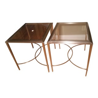 Ethan Allen Nickel Finish & Glass End Tables - A Pair