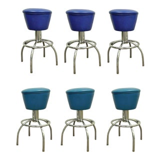 Vintage Mid-Century Modern Chrome & Vinyl Swivel Bar Counter Stools Chairs - Set of 6