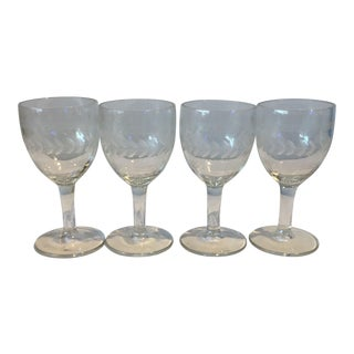 Vintage Crystal Stem Glasses - Set of 4