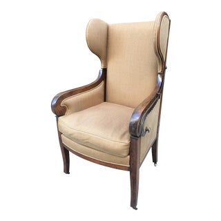 Antique Biedermeier Reclining Wingback Chair